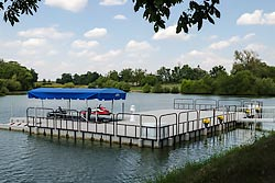 Floating dock at lake home