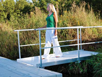 Aluminum gangway attached to Floating Dock