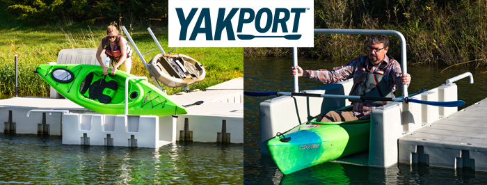 YAKport Kayak Launch attacted to 1000 or 2000 Series Floating Dock